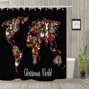 Christmas World Map Shower Curtain Polyester
